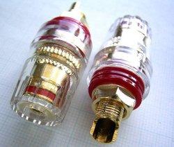 画像2: 高級大型 金メッキ・パワーアンプ出力端子 赤・黒 2ペア 計4個